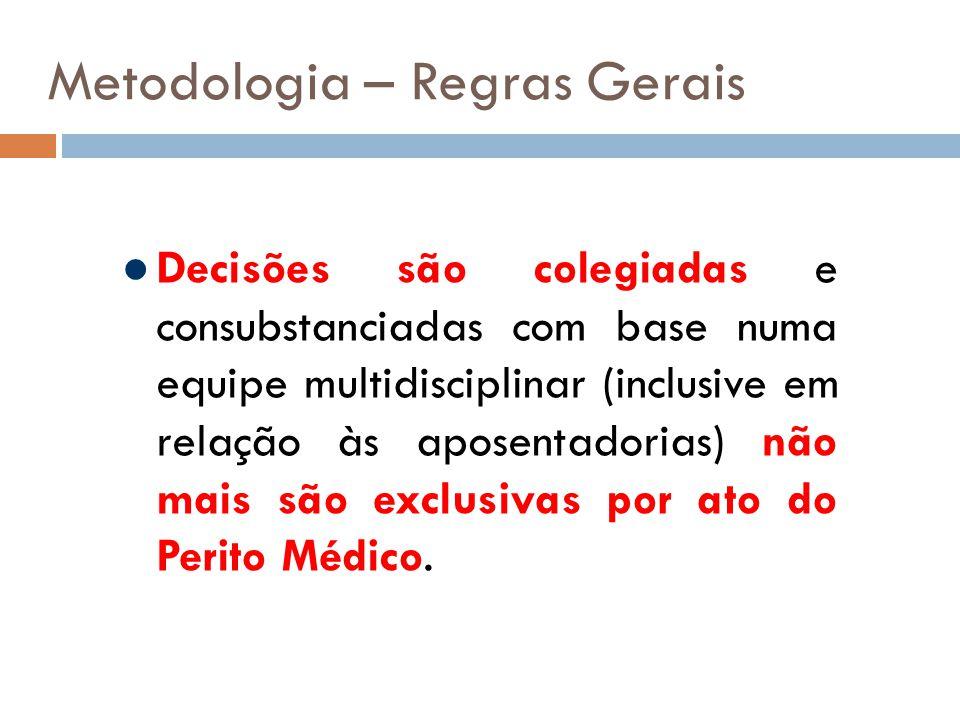 Metodologia – Regras Gerais Decisões são colegiadas e consubstanciadas com base numa equipe multidisciplinar (inclusive em relação às aposentadorias) não mais são exclusivas por ato do Perito Médico.