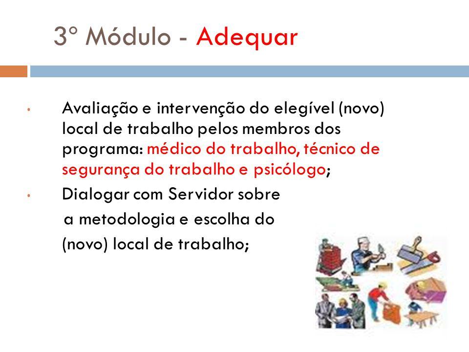 3º Módulo - Adequar Avaliação e intervenção do elegível (novo) local de trabalho pelos membros dos programa: médico do trabalho, técnico de segurança