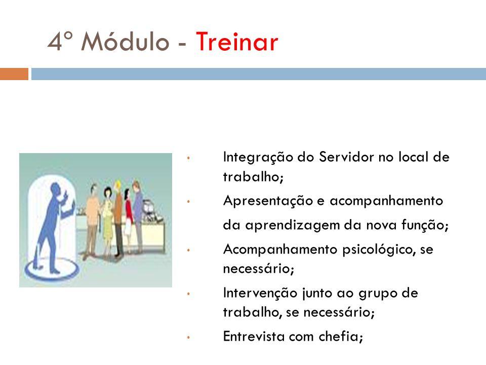 4º Módulo - Treinar Integração do Servidor no local de trabalho; Apresentação e acompanhamento da aprendizagem da nova função; Acompanhamento psicológ