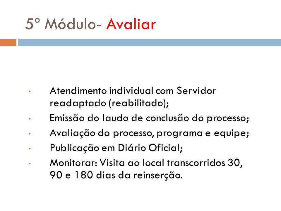 5º Módulo- Avaliar Atendimento individual com Servidor readaptado (reabilitado); Emissão do laudo de conclusão do processo; Avaliação do processo, pro