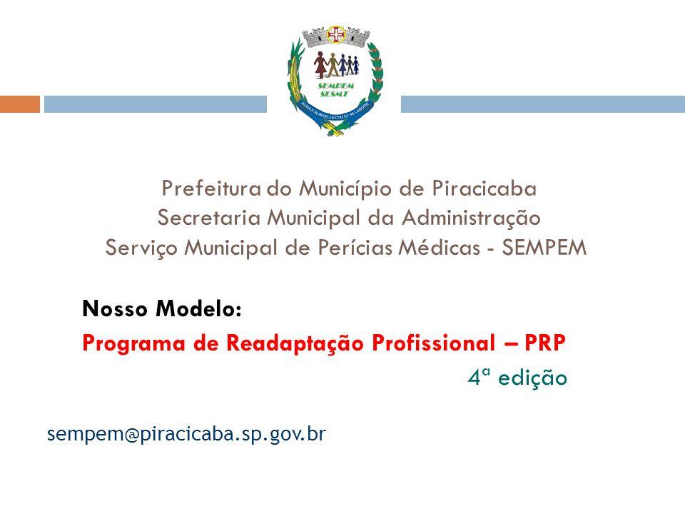 Prefeitura do Município de Piracicaba Secretaria Municipal da Administração Serviço Municipal de Perícias Médicas - SEMPEM Nosso Modelo: Programa de R