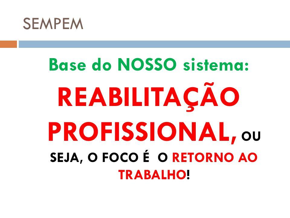 SEMPEM Base do NOSSO sistema: REABILITAÇÃO PROFISSIONAL, OU SEJA, O FOCO É O RETORNO AO TRABALHO!