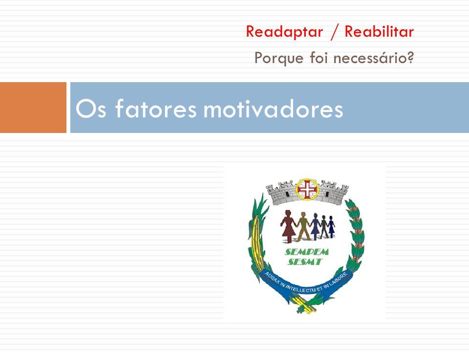 Readaptar / Reabilitar Porque foi necessário? Os fatores motivadores