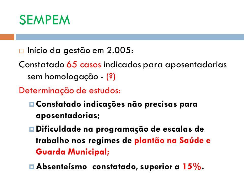 SEMPEM Início da gestão em 2.005: Constatado 65 casos indicados para aposentadorias sem homologação - (?) Determinação de estudos: Constatado indicaçõ