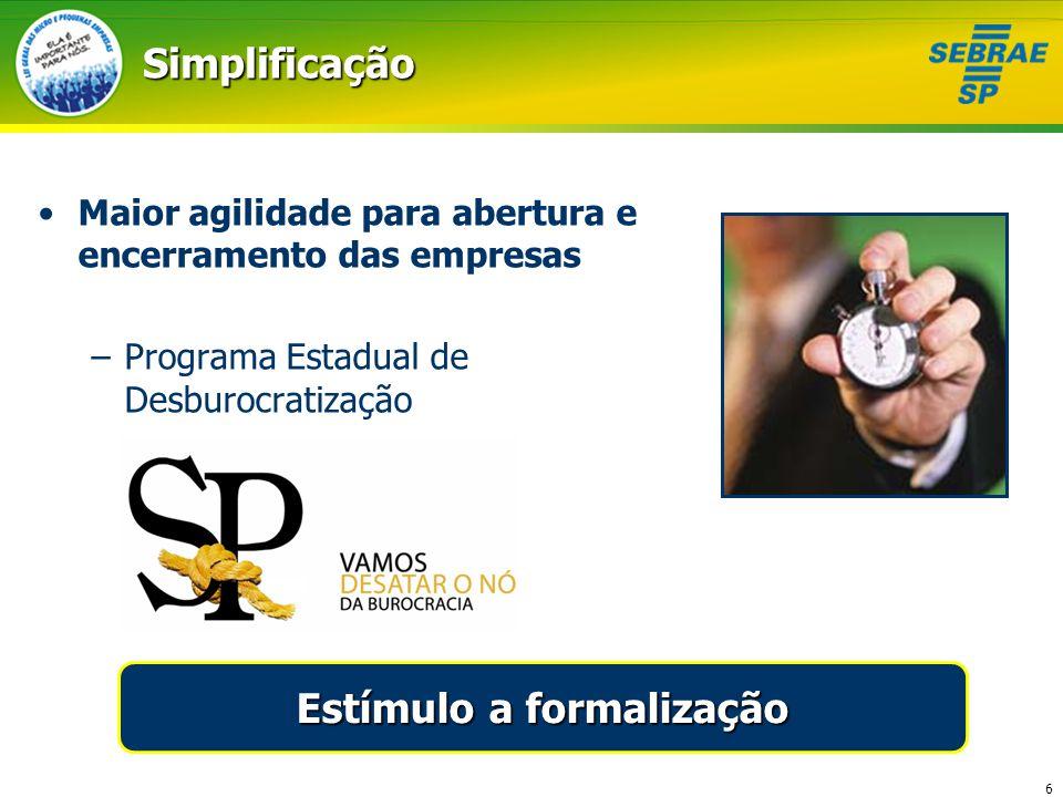 6Simplificação Maior agilidade para abertura e encerramento das empresas –Programa Estadual de Desburocratização Estímulo a formalização