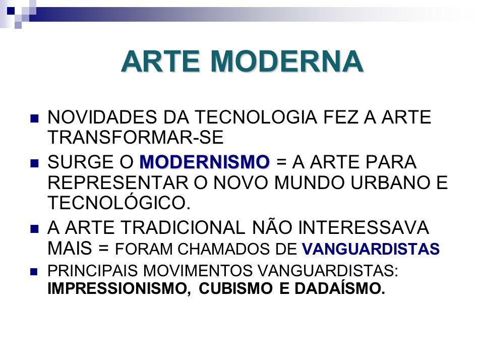 ARTE MODERNA NOVIDADES DA TECNOLOGIA FEZ A ARTE TRANSFORMAR-SE MODERNISMO SURGE O MODERNISMO = A ARTE PARA REPRESENTAR O NOVO MUNDO URBANO E TECNOLÓGI