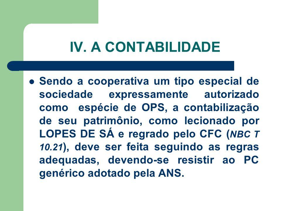 IV. A CONTABILIDADE Sendo a cooperativa um tipo especial de sociedade expressamente autorizado como espécie de OPS, a contabilização de seu patrimônio