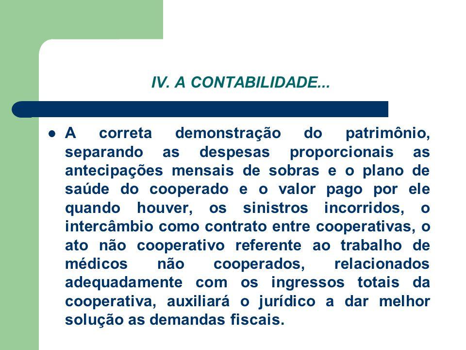 IV. A CONTABILIDADE... A correta demonstração do patrimônio, separando as despesas proporcionais as antecipações mensais de sobras e o plano de saúde
