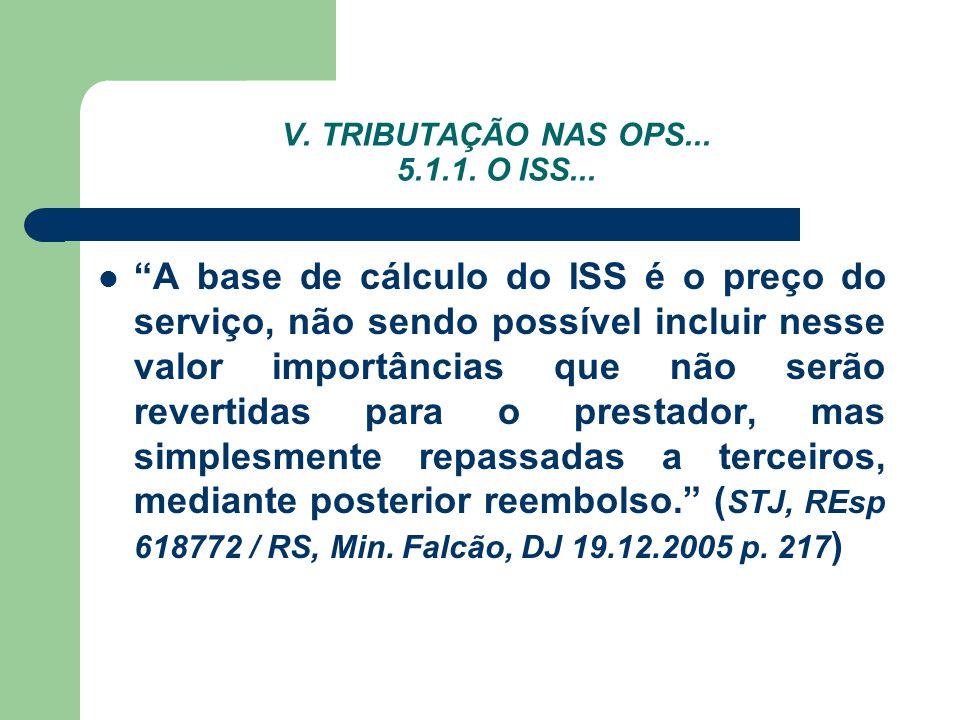 V. TRIBUTAÇÃO NAS OPS... 5.1.1. O ISS... A base de cálculo do ISS é o preço do serviço, não sendo possível incluir nesse valor importâncias que não se