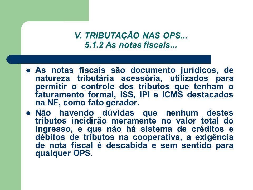 V. TRIBUTAÇÃO NAS OPS... 5.1.2 As notas fiscais... As notas fiscais são documento jurídicos, de natureza tributária acessória, utilizados para permiti