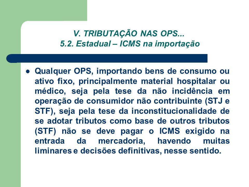 V. TRIBUTAÇÃO NAS OPS... 5.2. Estadual – ICMS na importação Qualquer OPS, importando bens de consumo ou ativo fixo, principalmente material hospitalar