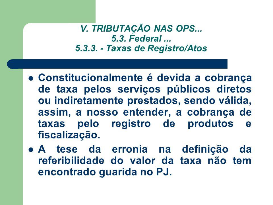 V. TRIBUTAÇÃO NAS OPS... 5.3. Federal... 5.3.3. - Taxas de Registro/Atos Constitucionalmente é devida a cobrança de taxa pelos serviços públicos diret