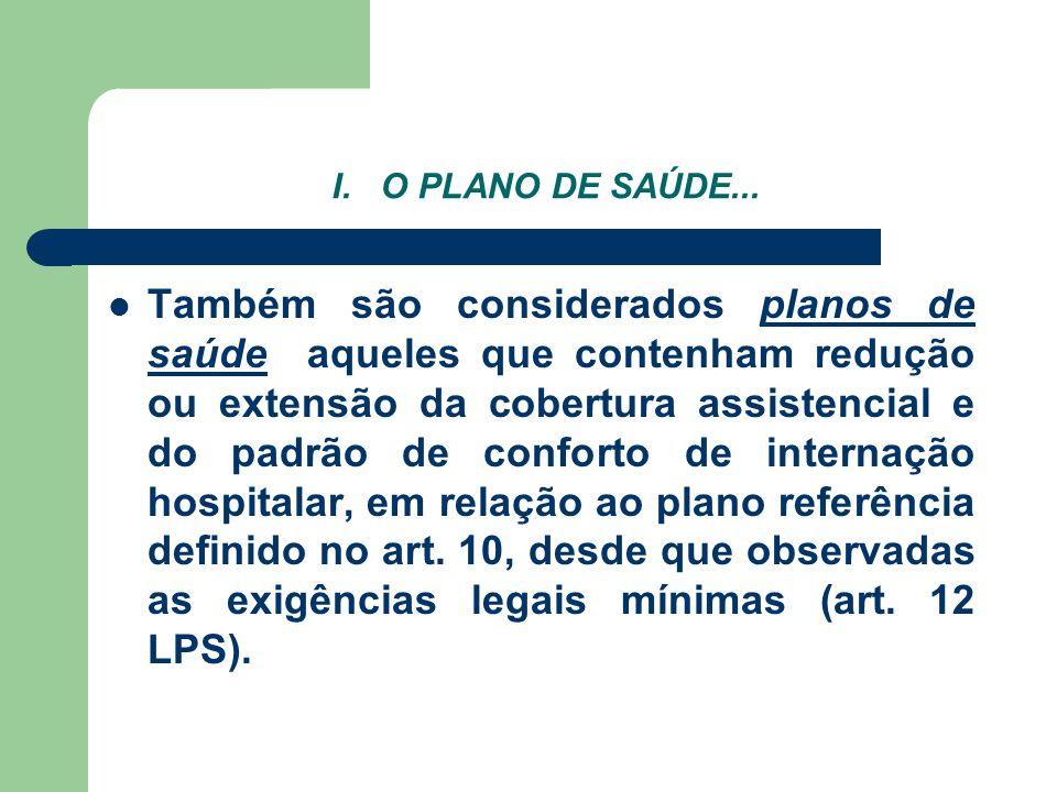 I. O PLANO DE SAÚDE... Também são considerados planos de saúde aqueles que contenham redução ou extensão da cobertura assistencial e do padrão de conf