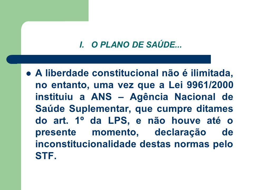 I. O PLANO DE SAÚDE... A liberdade constitucional não é ilimitada, no entanto, uma vez que a Lei 9961/2000 instituiu a ANS – Agência Nacional de Saúde