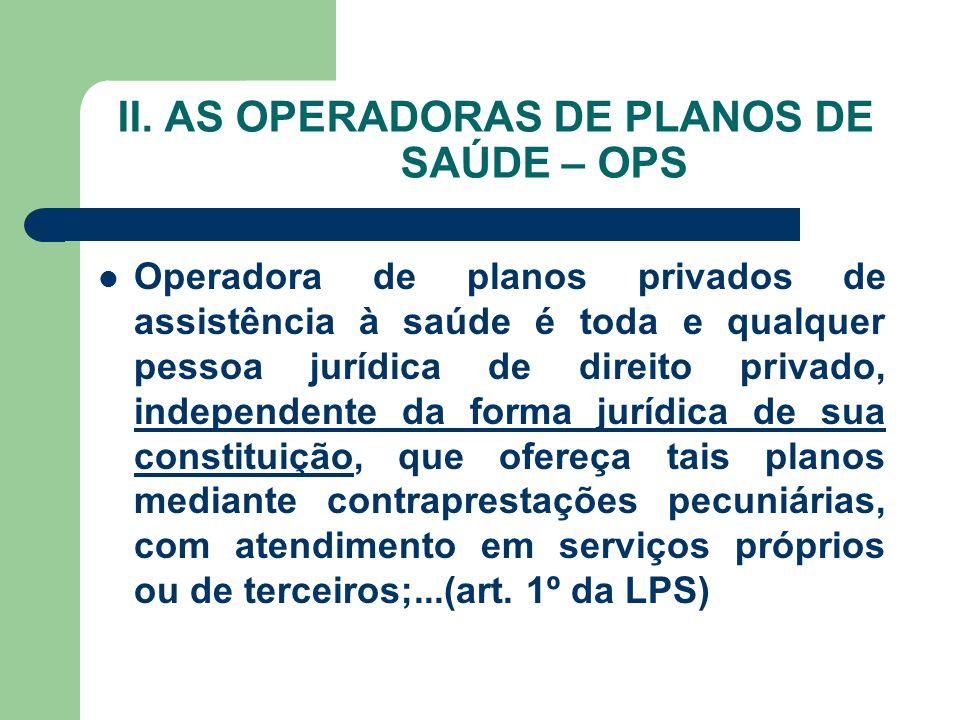 II. AS OPERADORAS DE PLANOS DE SAÚDE – OPS Operadora de planos privados de assistência à saúde é toda e qualquer pessoa jurídica de direito privado, i