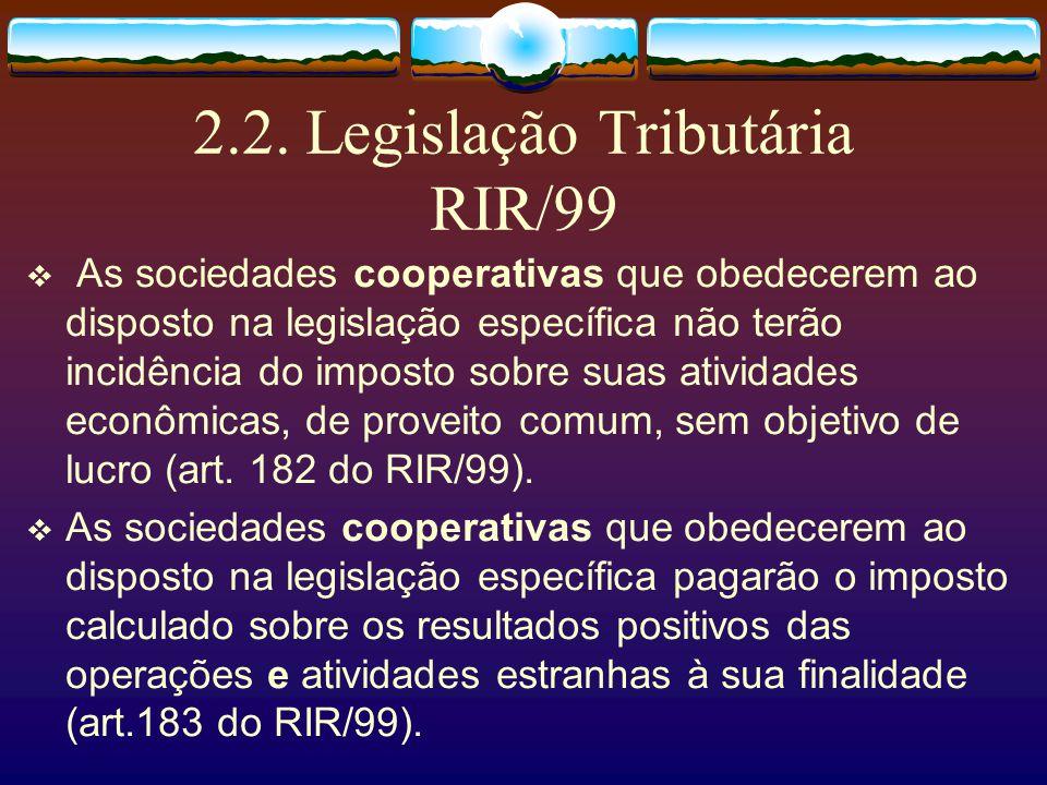 2.1. Legislação Tributária A norma constitucional Cabe a lei complementar, garantir o adequado tratamento tributário ao ato cooperativo (art. 146, III