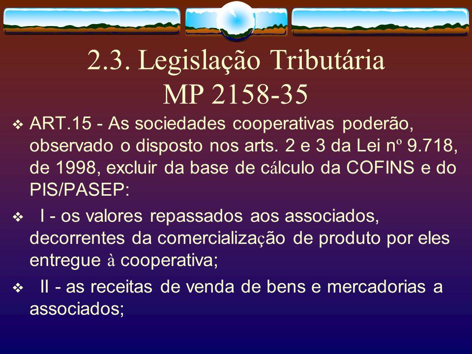 2.2. Legislação Tributária RIR/99 As sociedades cooperativas que obedecerem ao disposto na legislação específica não terão incidência do imposto sobre