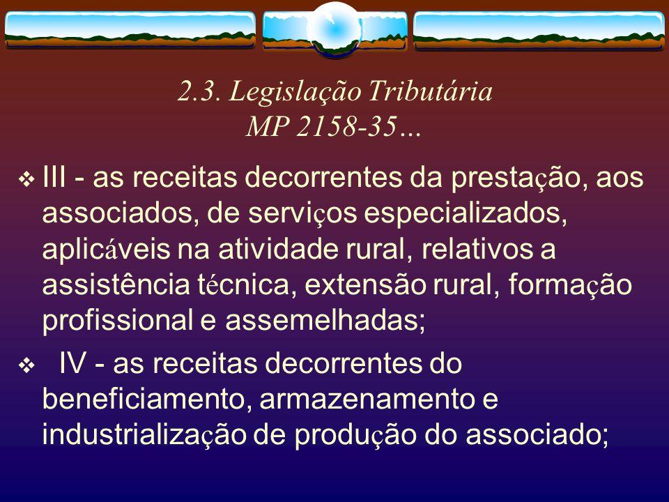 2.3. Legislação Tributária MP 2158-35 ART.15 - As sociedades cooperativas poderão, observado o disposto nos arts. 2 e 3 da Lei n º 9.718, de 1998, exc