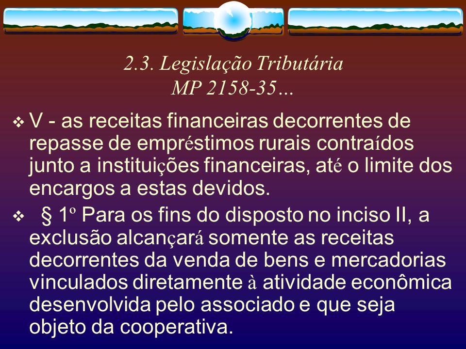 2.3. Legislação Tributária MP 2158-35… III - as receitas decorrentes da presta ç ão, aos associados, de servi ç os especializados, aplic á veis na ati