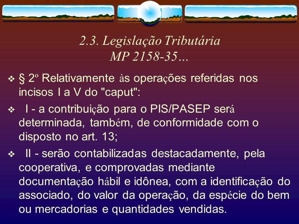 2.3. Legislação Tributária MP 2158-35… V - as receitas financeiras decorrentes de repasse de empr é stimos rurais contra í dos junto a institui ç ões