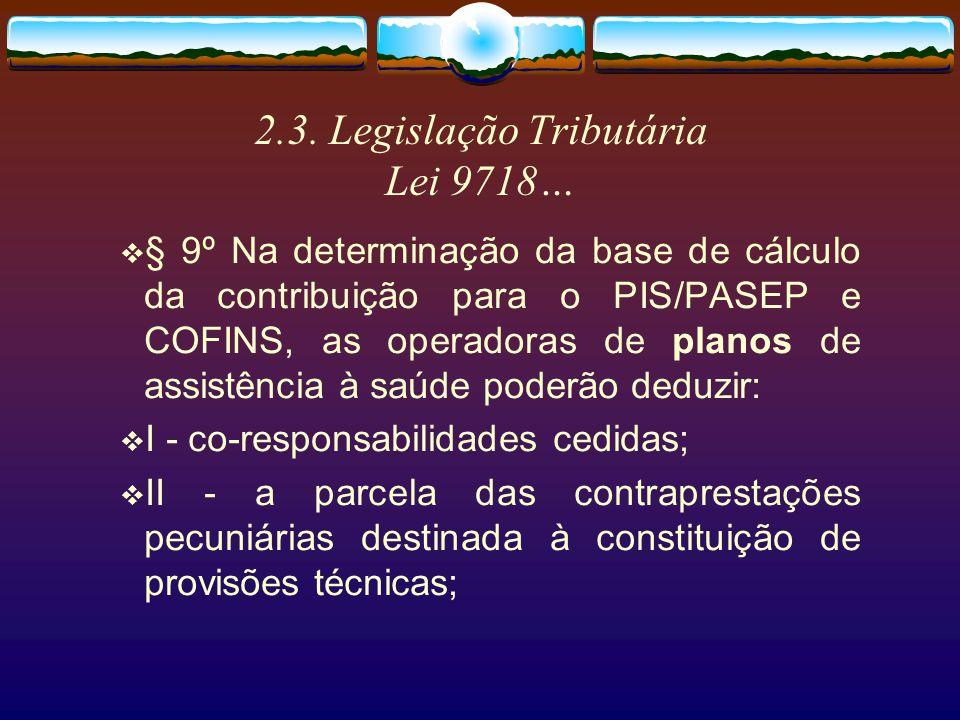 2.3. Legislação Tributária Lei 9718 ART.3 - O faturamento a que se refere o artigo anterior corresponde à receita bruta da pessoa jurídica.