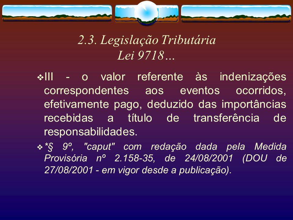 2.3. Legislação Tributária Lei 9718… § 9º Na determinação da base de cálculo da contribuição para o PIS/PASEP e COFINS, as operadoras de planos de ass