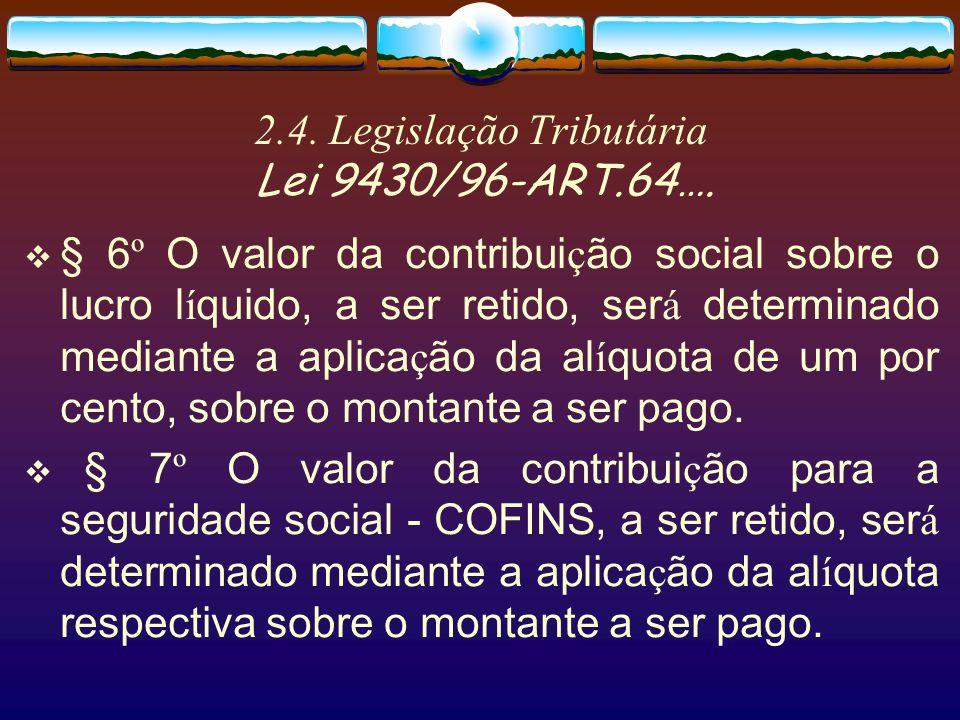 2.4. Legislação Tributária Lei 9430/96-ART.64…. § 5 º O imposto de renda a ser retido ser á determinado mediante a aplica ç ão da al í quota de quinze