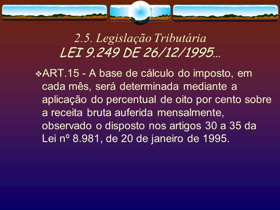2.4. Legislação Tributária Lei 9430/96-ART.64…. § 8 º O valor da contribui ç ão para o PIS/PASEP, a ser retido, ser á determinado mediante a aplica ç