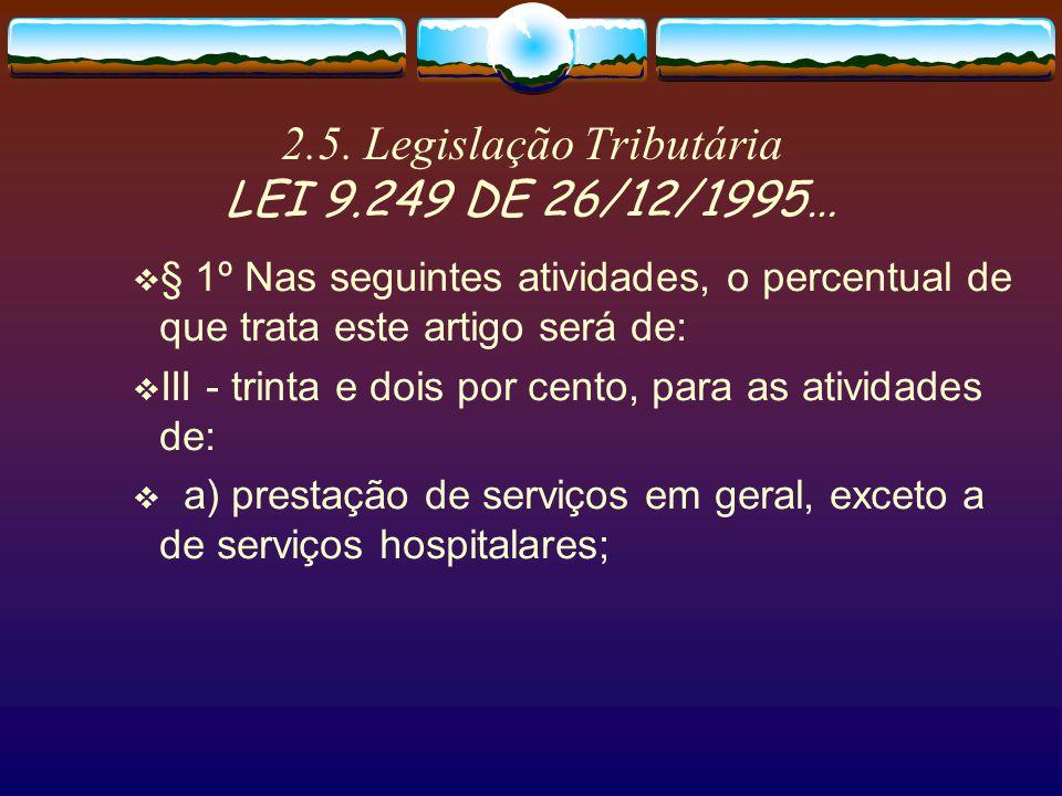 2.5. Legislação Tributária LEI 9.249 DE 26/12/1995… ART.15 - A base de cálculo do imposto, em cada mês, será determinada mediante a aplicação do perce