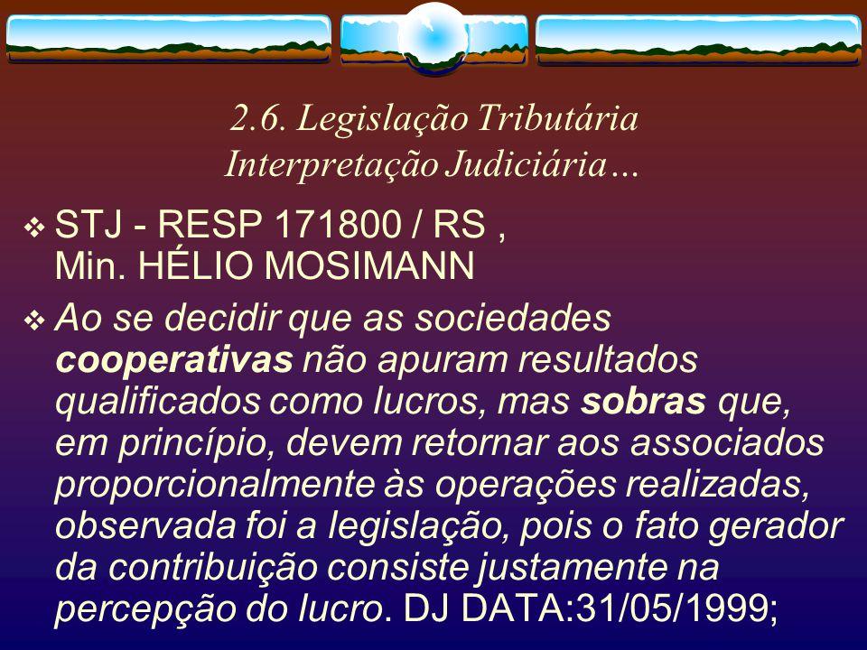 2.6. Legislação Tributária Interpretação Judiciária STJ - RESP 254549 / CE Min. José Delgado -...2. Os primeiros atos, por serem típicos atos cooperad