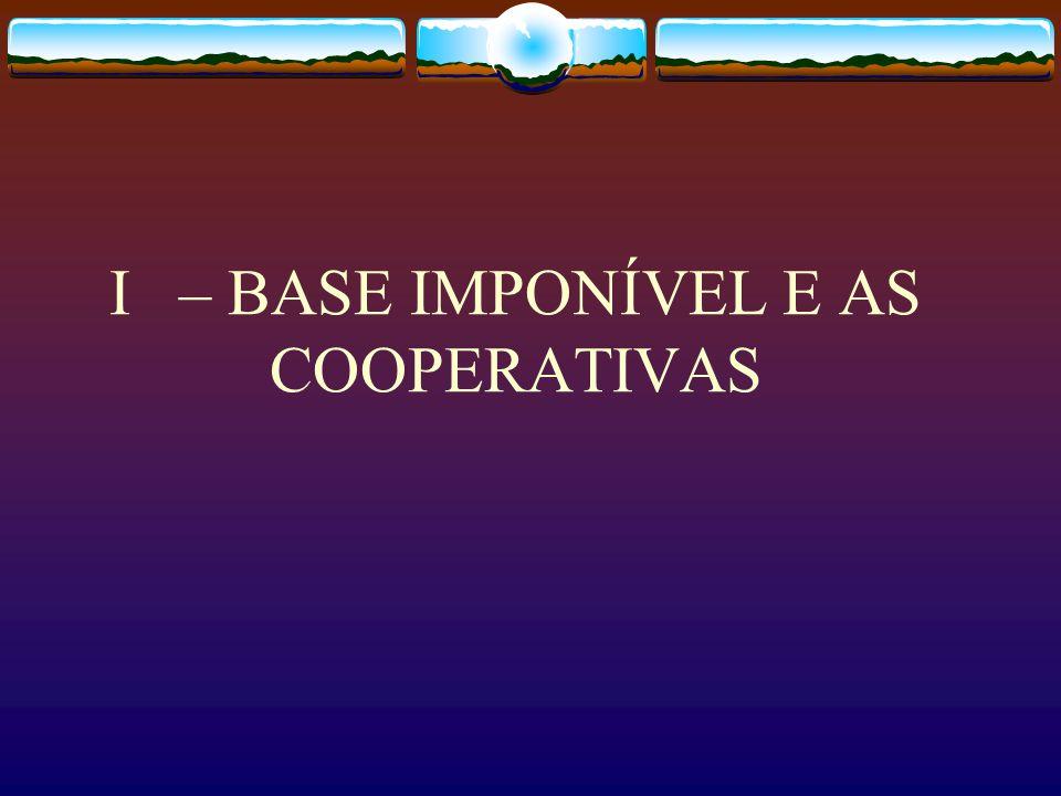 Roteiro I – BASE IMPONÍVEL NAS COOPERATIVAS II – LEGISLAÇÃO TRIBUTÁRIA III – SITUAÇÃO FÁTICA ATÉ 2003 IV – SITUAÇÃO JURÍDICA ATÉ 2003 V – SITUAÇÃO JUR