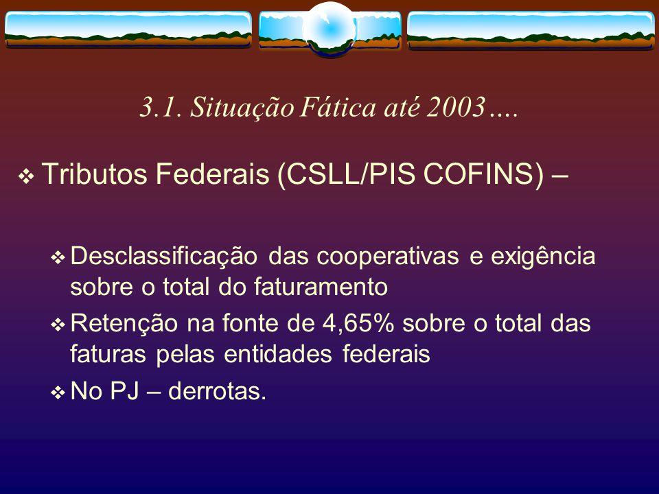 3.1. Situação Fática até 2003…. Tributos Federais (IR) – Na PJ – 1,5% sobre as faturas, com exigência sobre o resultado total. Na PF – até 27,5% sobre