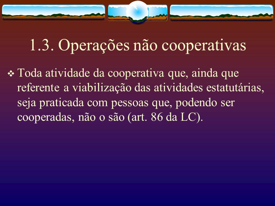 1.2. Operações Cooperativas Toda operação atinente ao ato cooperativo, ou seja, toda atividade estatutária realizada pla cooperativa (art. 79 da LC),