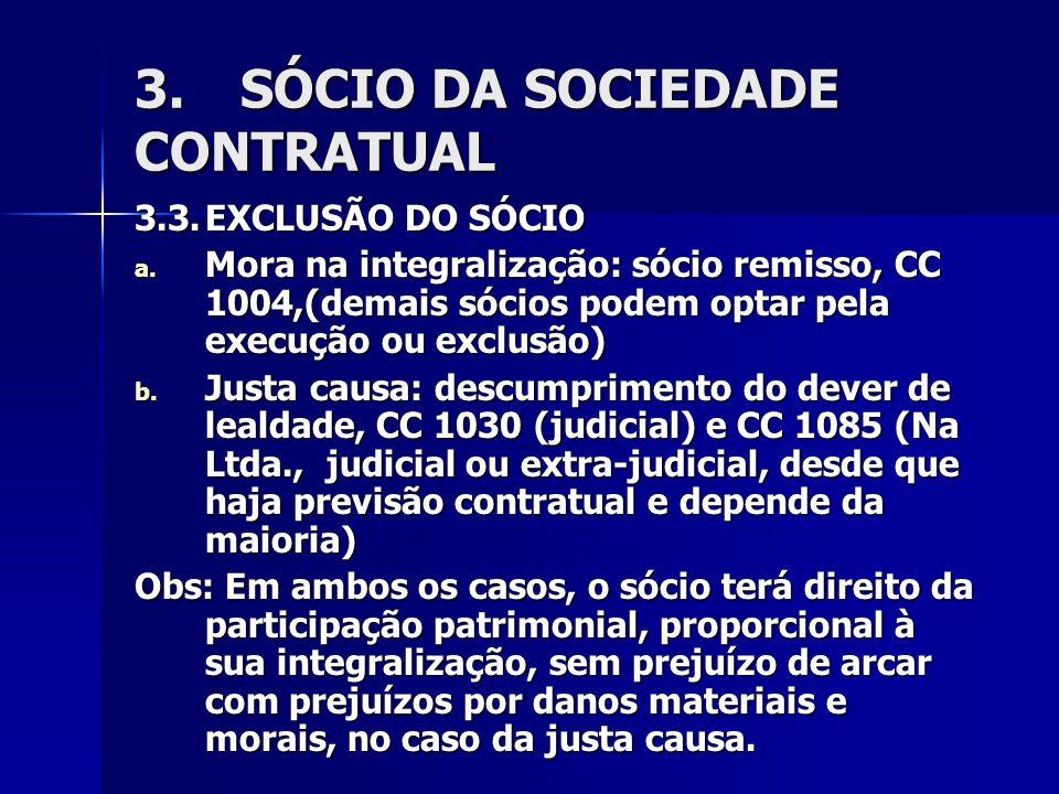 3.SÓCIO DA SOCIEDADE CONTRATUAL 3.3.EXCLUSÃO DO SÓCIO a.