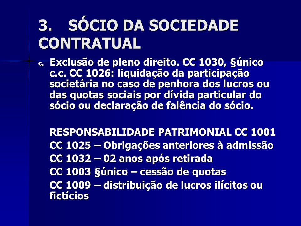 3.SÓCIO DA SOCIEDADE CONTRATUAL c. Exclusão de pleno direito. CC 1030, §único c.c. CC 1026: liquidação da participação societária no caso de penhora d