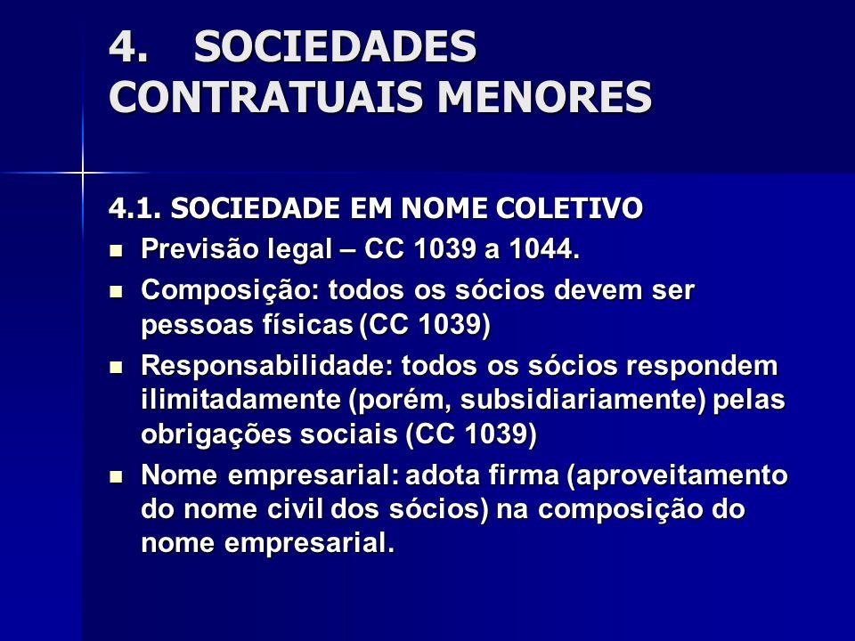 4.SOCIEDADES CONTRATUAIS MENORES 4.1. SOCIEDADE EM NOME COLETIVO Previsão legal – CC 1039 a 1044. Previsão legal – CC 1039 a 1044. Composição: todos o