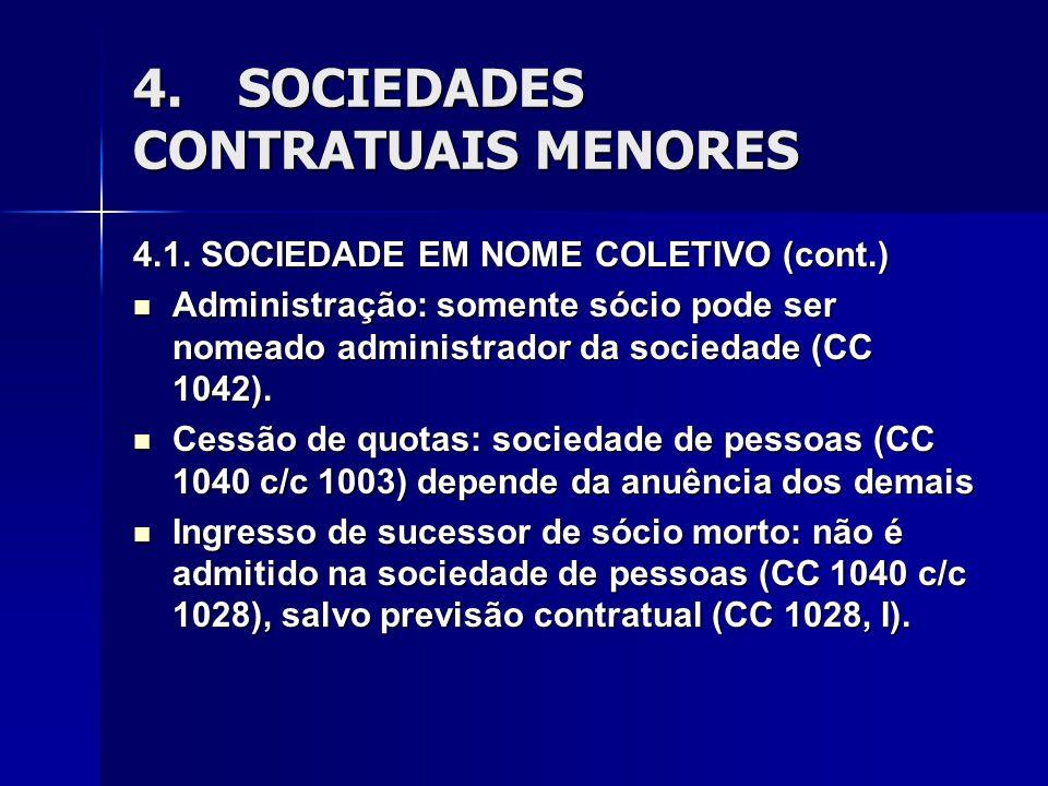 4.SOCIEDADES CONTRATUAIS MENORES 4.1. SOCIEDADE EM NOME COLETIVO (cont.) Administração: somente sócio pode ser nomeado administrador da sociedade (CC