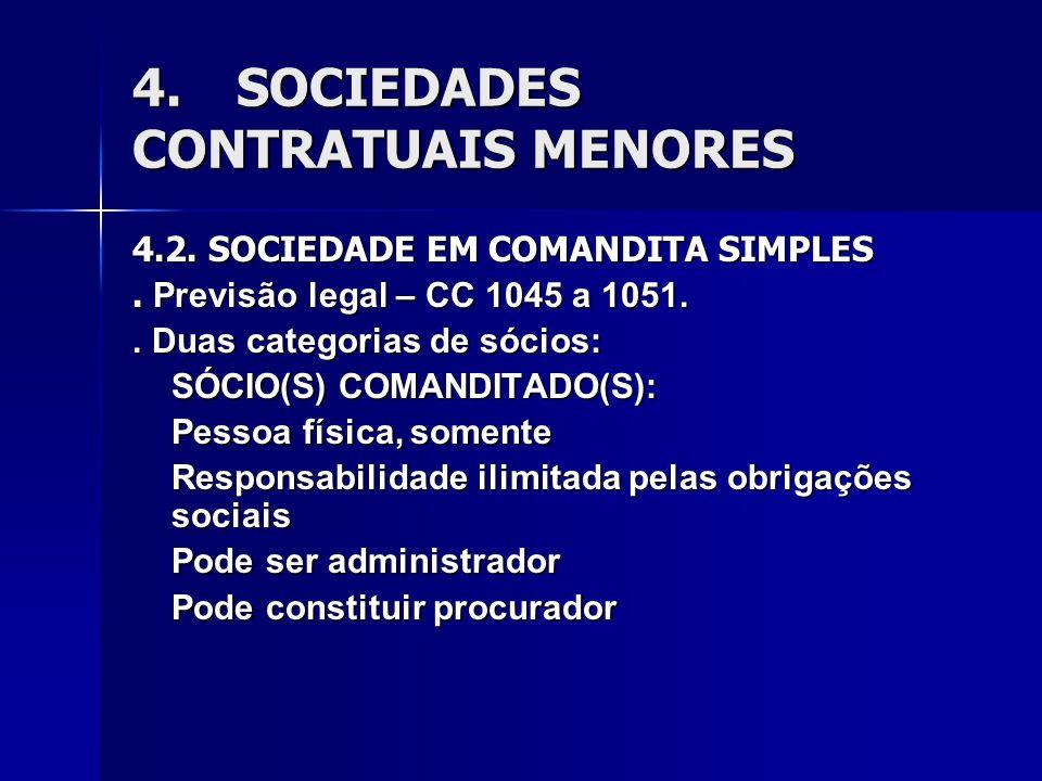4.SOCIEDADES CONTRATUAIS MENORES 4.2. SOCIEDADE EM COMANDITA SIMPLES. Previsão legal – CC 1045 a 1051.. Duas categorias de sócios: SÓCIO(S) COMANDITAD