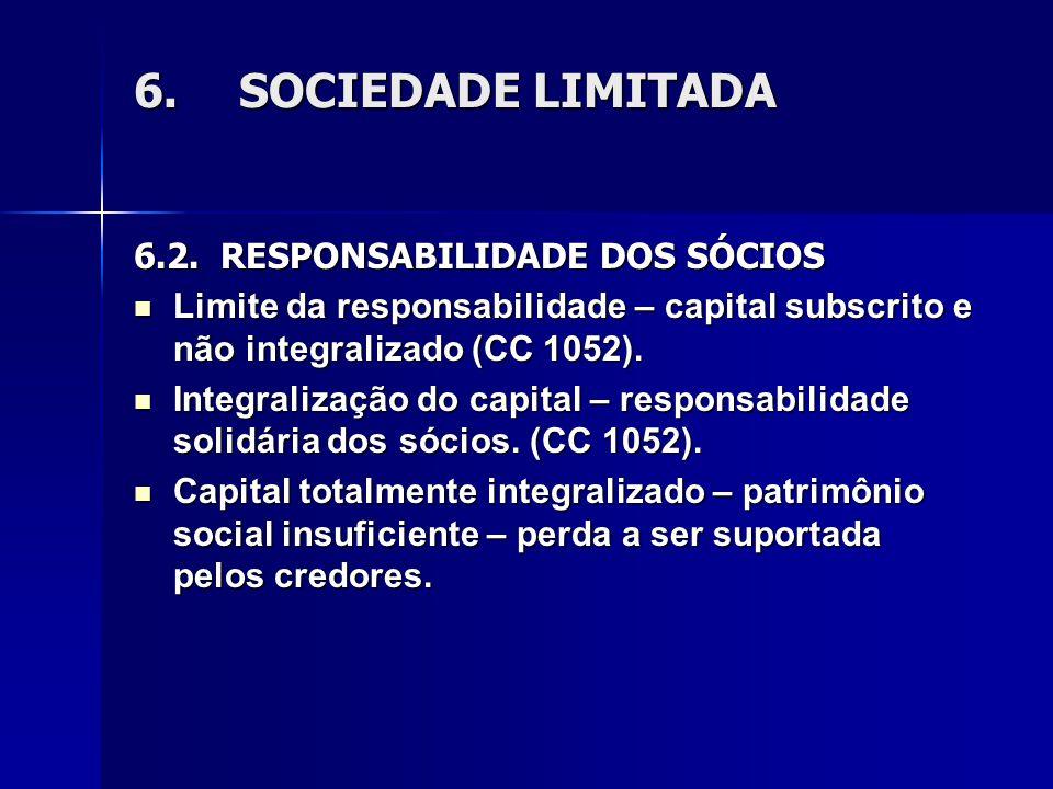 6.SOCIEDADE LIMITADA 6.2. RESPONSABILIDADE DOS SÓCIOS Limite da responsabilidade – capital subscrito e não integralizado (CC 1052). Limite da responsa