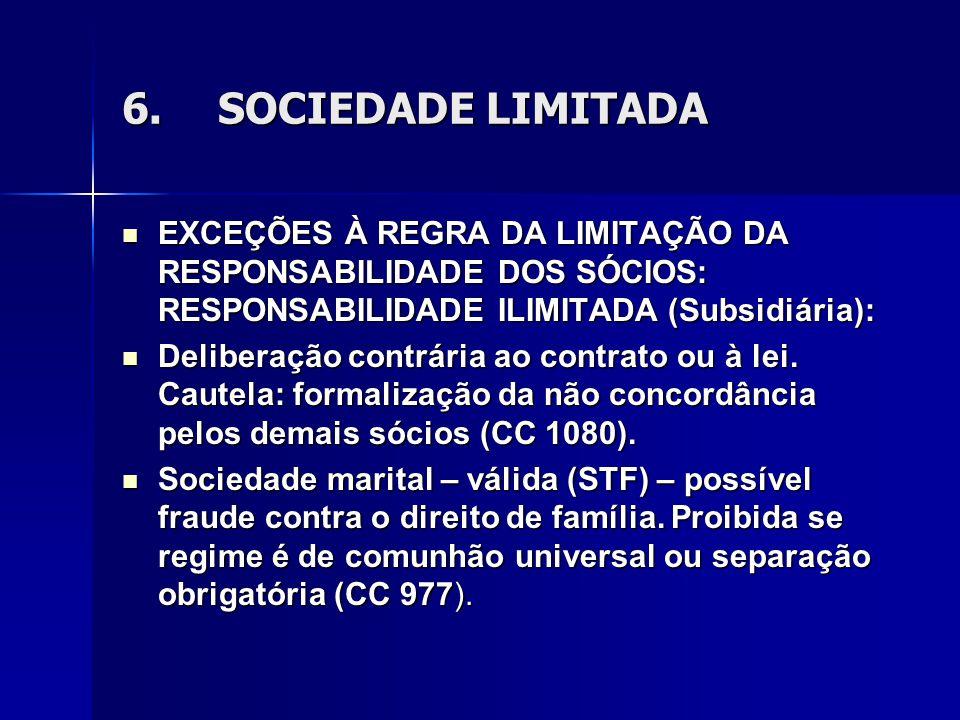 6.SOCIEDADE LIMITADA EXCEÇÕES À REGRA DA LIMITAÇÃO DA RESPONSABILIDADE DOS SÓCIOS: RESPONSABILIDADE ILIMITADA (Subsidiária): EXCEÇÕES À REGRA DA LIMITAÇÃO DA RESPONSABILIDADE DOS SÓCIOS: RESPONSABILIDADE ILIMITADA (Subsidiária): Deliberação contrária ao contrato ou à lei.