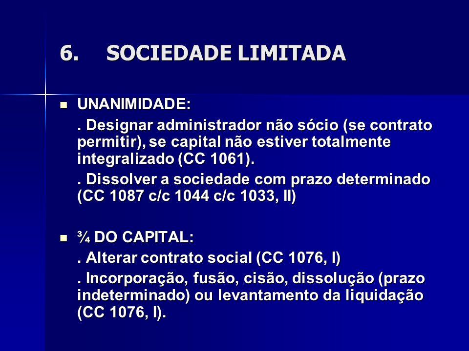 6.SOCIEDADE LIMITADA UNANIMIDADE: UNANIMIDADE:. Designar administrador não sócio (se contrato permitir), se capital não estiver totalmente integraliza