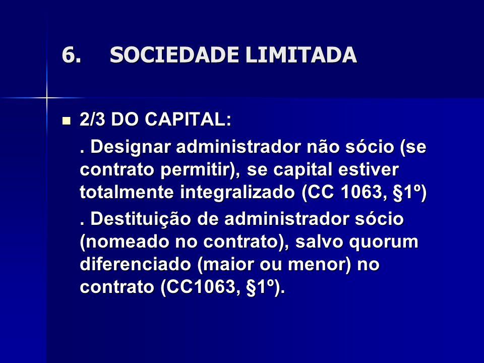 6.SOCIEDADE LIMITADA 2/3 DO CAPITAL: 2/3 DO CAPITAL:. Designar administrador não sócio (se contrato permitir), se capital estiver totalmente integrali