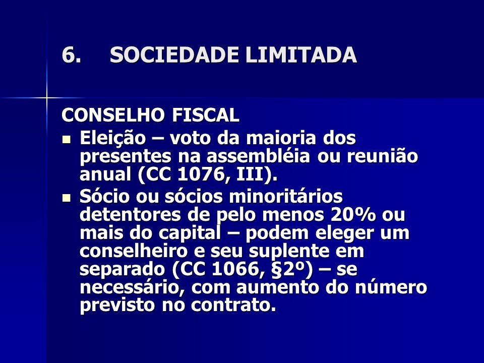 6.SOCIEDADE LIMITADA CONSELHO FISCAL Eleição – voto da maioria dos presentes na assembléia ou reunião anual (CC 1076, III). Eleição – voto da maioria