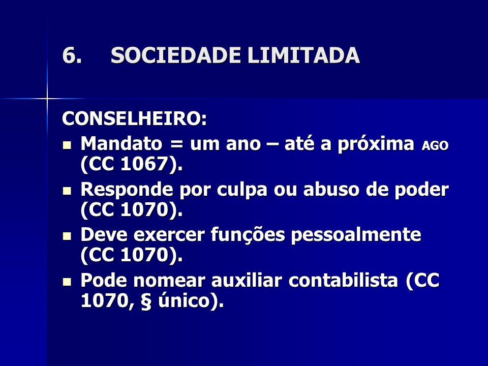 6.SOCIEDADE LIMITADA CONSELHEIRO: Mandato = um ano – até a próxima AGO (CC 1067). Mandato = um ano – até a próxima AGO (CC 1067). Responde por culpa o