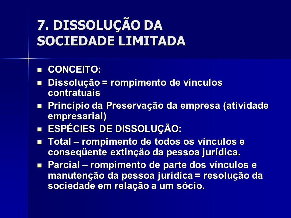 7. DISSOLUÇÃO DA SOCIEDADE LIMITADA CONCEITO: CONCEITO: Dissolução = rompimento de vínculos contratuais Dissolução = rompimento de vínculos contratuai