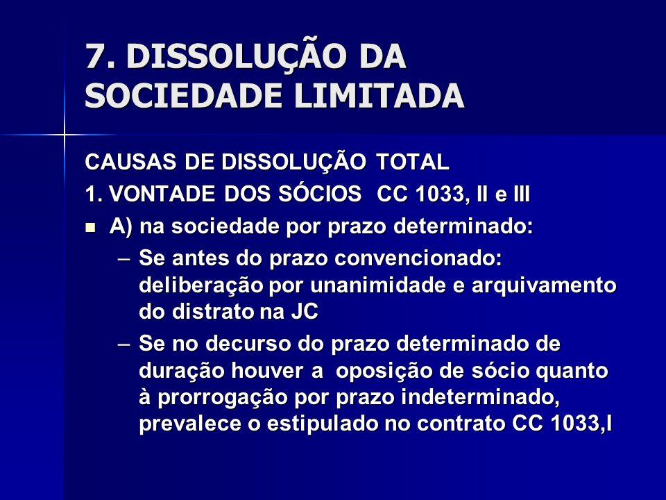 7. DISSOLUÇÃO DA SOCIEDADE LIMITADA CAUSAS DE DISSOLUÇÃO TOTAL 1. VONTADE DOS SÓCIOS CC 1033, II e III A) na sociedade por prazo determinado: A) na so