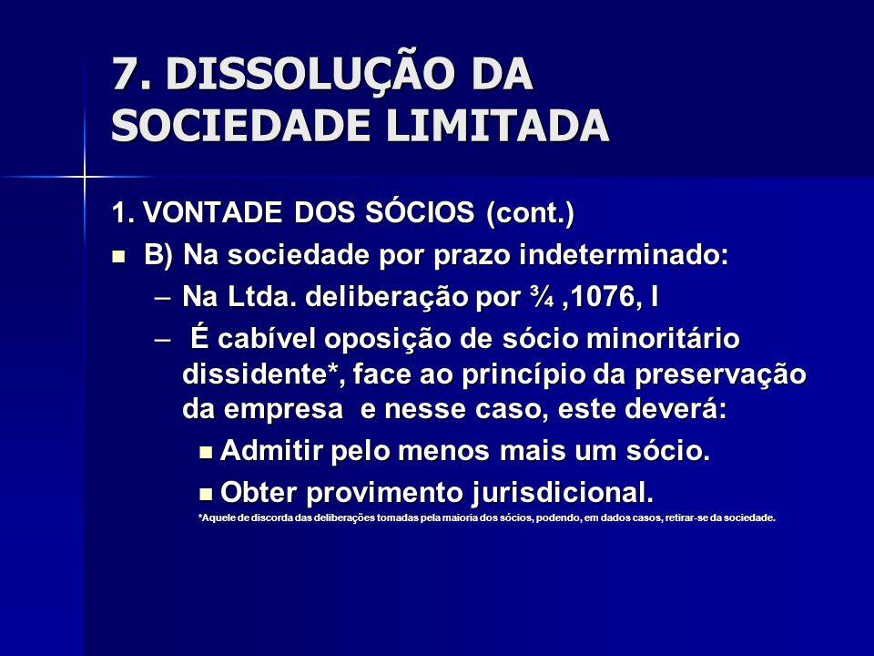 7. DISSOLUÇÃO DA SOCIEDADE LIMITADA 1. VONTADE DOS SÓCIOS (cont.) B) Na sociedade por prazo indeterminado: B) Na sociedade por prazo indeterminado: –N