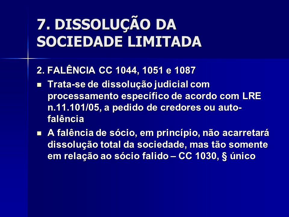 7. DISSOLUÇÃO DA SOCIEDADE LIMITADA 2. FALÊNCIA CC 1044, 1051 e 1087 Trata-se de dissolução judicial com processamento específico de acordo com LRE n.