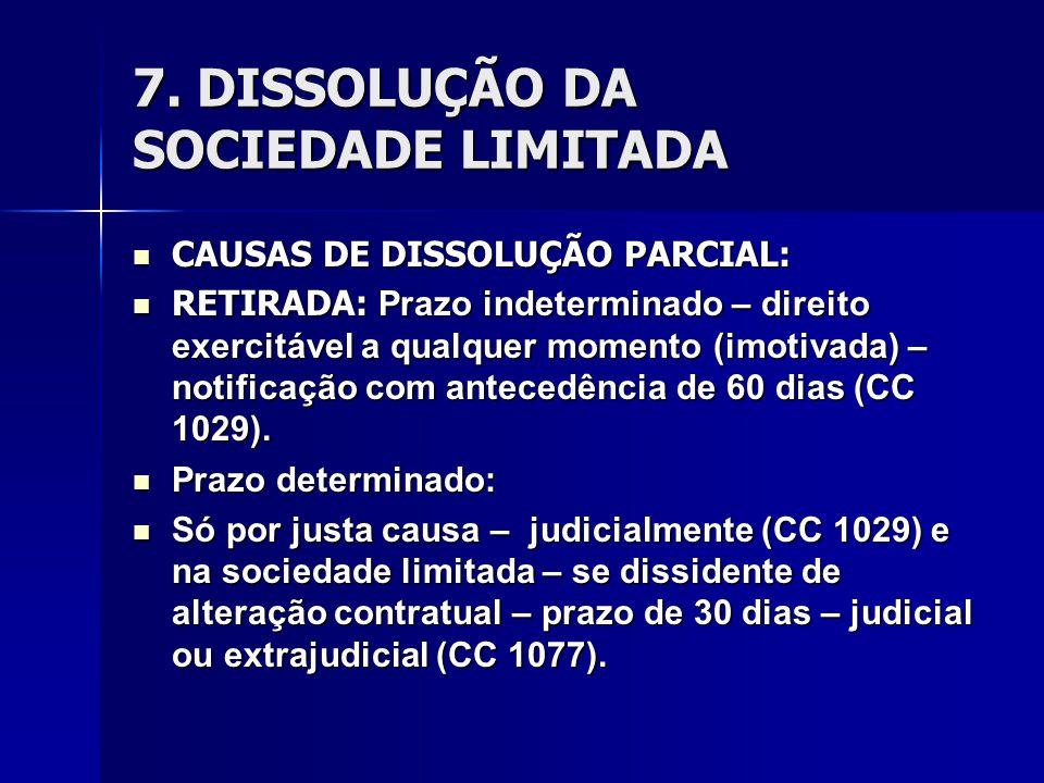 7. DISSOLUÇÃO DA SOCIEDADE LIMITADA CAUSAS DE DISSOLUÇÃO PARCIAL: CAUSAS DE DISSOLUÇÃO PARCIAL: RETIRADA: Prazo indeterminado – direito exercitável a