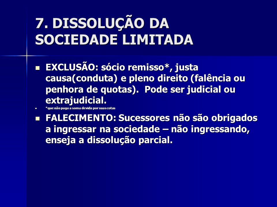 7. DISSOLUÇÃO DA SOCIEDADE LIMITADA EXCLUSÃO: sócio remisso*, justa causa(conduta) e pleno direito (falência ou penhora de quotas). Pode ser judicial